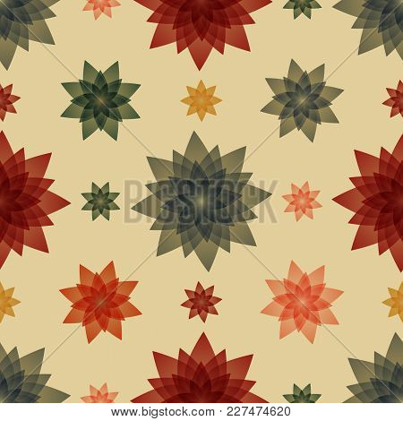 Furniture Upholstery With Flowers Vector Illustration. Seamless Pattern Background.