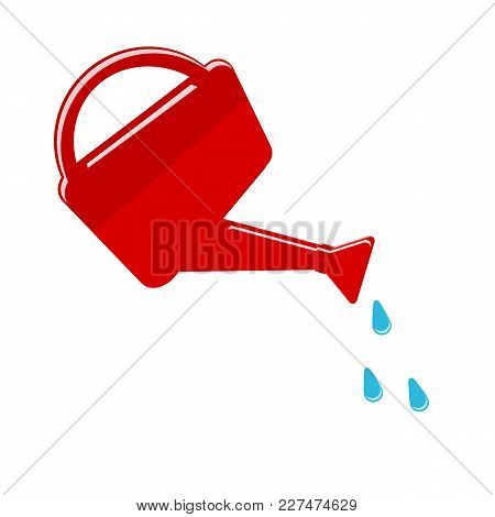 Watering Can And Water Drops Isolated On White Background. Vector Illustration