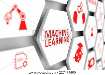 Machine Learning Concept Cell Blurred Background 3d Illustration