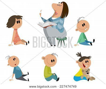 Vector Illustration Of A Set Of Kindergarten Characters