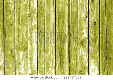 Grungy Wooden Wall Background In Yellow Color. Abstract Background And Texture For Design.