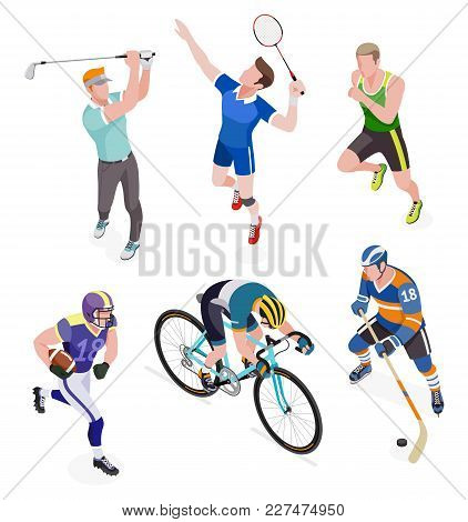Group Of Sports People Set. Vector Illustrations.