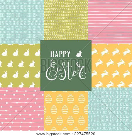 Easter Set With 8 Cute Seamless Backgrounds With Rabbits, Eggs And Doodle Pattenes. Vector Illustrat