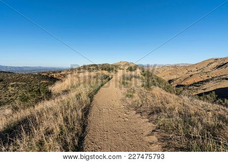Morning view of the Chumash Trail hiking path in Simi Valley near Los Angeles California.