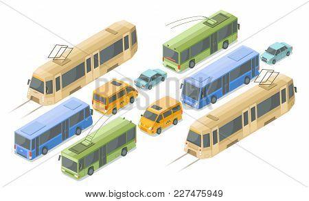 Isometric Public Passenger Transport Vector Illustration. Flat Isolated Isometric Icons Of Modern Ur