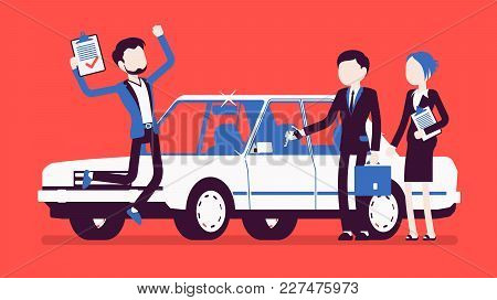 Car Loan Approved. Happy Young Man Exited When Got A Bank Authorization, Customer And Agents After D