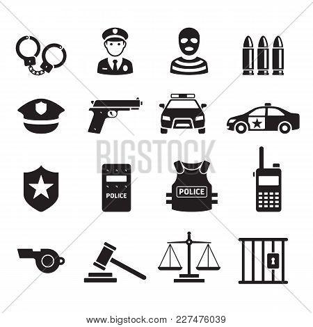 Police Black Icons Symbol Set. Vector Illustrations.
