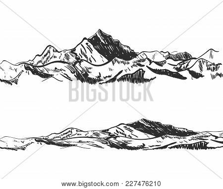 Vector Illustration: Drawings Of Mountains, Drawn Nature, Landscape, Outdoor Sketch Isolated On Whit