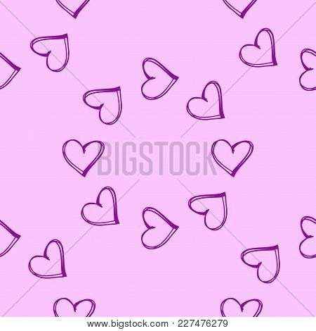 Vector Pink Wallpaper. Seamless Pattern Background With Hearts. Amour Decoration. Celebration For Va