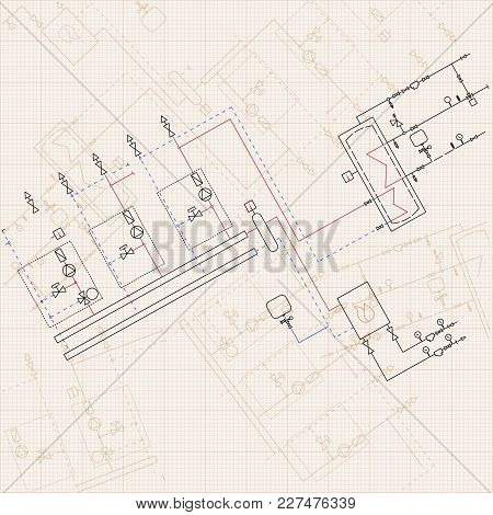 Technical Engineering Drawing. Blueprints With Scheme Of Stokehold. Vector Grid Paper Background. Il