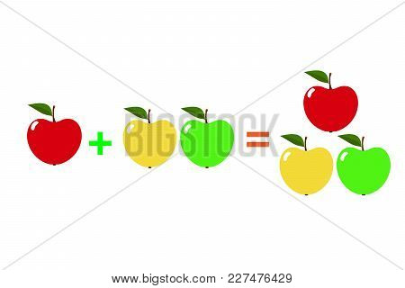 Examples With Apples. Cartoon Of Mathematical Addition, Isolated On A White Background. Vector Illus