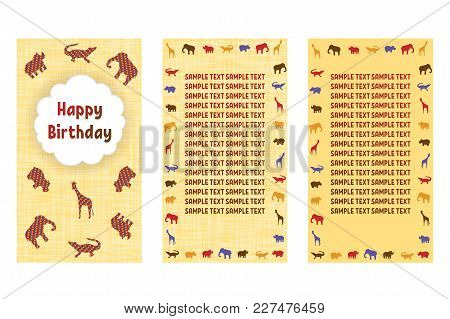 Happy Birthday Greeting Cards. Three Different Vector Patterns In Style Of A Safari. Card In Yellow