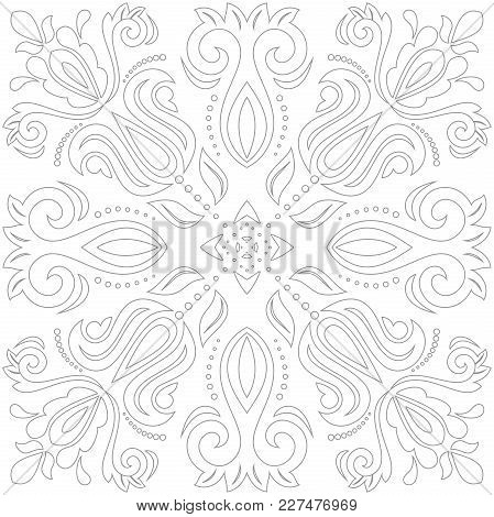 Oriental Vector Pattern With Light Arabesques And Floral Elements. Traditional Classic Ornament. Vin