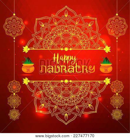 Illustration Of Happy Navratri Celebration Poster. Red Banner Background.