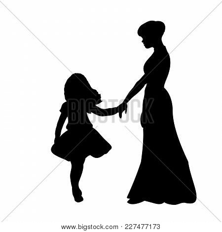 Silhouette Family Girl With Mom. Vector Illustration