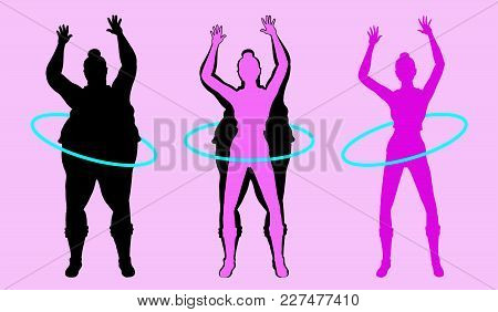 Fat And Slim Woman Silhouette Exercising With Hula Hoop. All The Objects Are In Different Layers.