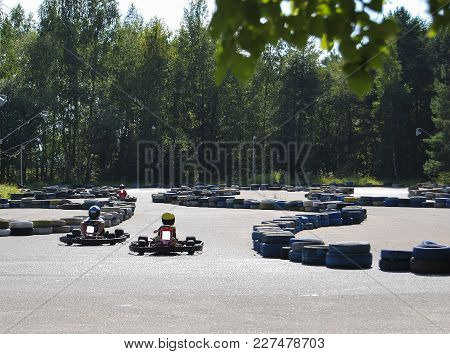 Karting. Public Entertainment For Children In The Park. Not A Professional Sport For Fans.