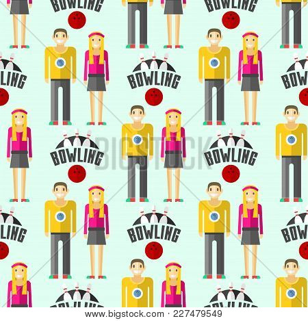 Vector Colorful Bowling Sport Strike Pin Symbol Seamless Pattern Background. Ball Skittle Game Equip
