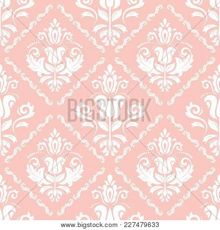 Classic Seamless Vector Pattern. Damask Orient Pink And White Ornament. Classic Vintage Background
