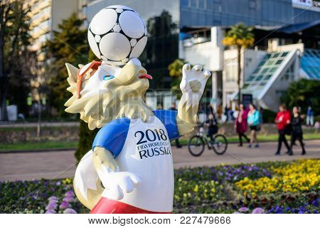 Sochi, Russia - February,  2018 The Official Mascot Of The 2018 Fifa World Cup And The Fifa Confeder