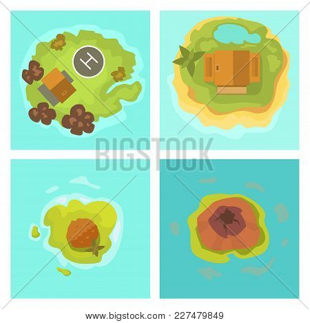 Cartoon Tropical Exotic Island In Ocean. Top View Exotic Lagoon Map Caribbean Aerial Sprite. Vector