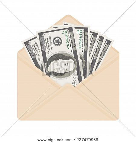 Usa Banking Currency In Open Beige Envelope. One Hundred Dollar Bills As Gift, Close-up. Bribe In En