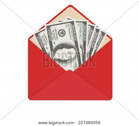 Usa Banking Currency In Open Red Envelope. One Hundred Dollar Bills As Gift, Close-up. Bribe In Enve