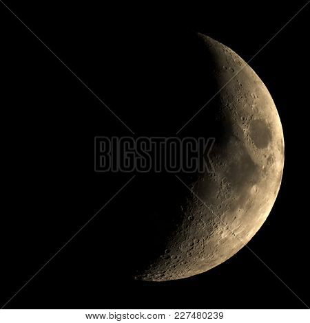 High Contrast Waxing Crescent Moon Seen With An Astronomical Telescope