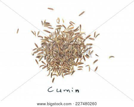 Black Cumin (bunium Bulbocastanum) Seeds Over White