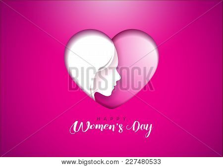 Happy Womens Day Greeting Card Design With Woman Face Silhouette In Heart Shape. International Femal