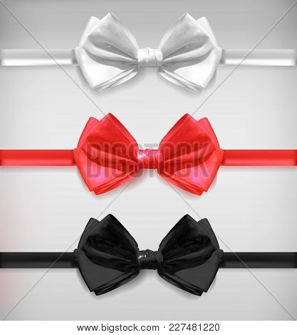 Realistic White, Black And Red Bow Ties, Vector Illustration Isolated On White Background.