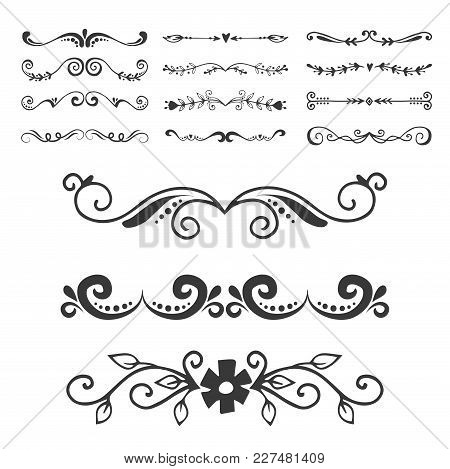 Vintage Book Divider Shape Text Separator Decorative Typography Ornament Design Elements Line Frame