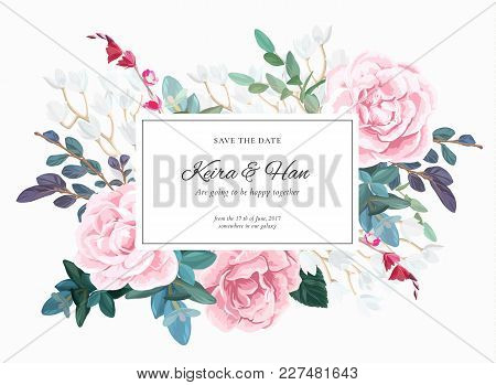 Botanical Wedding Invitation Design With Pale Roses, Succulents, Eucaliptus Flowers And Green Leaves