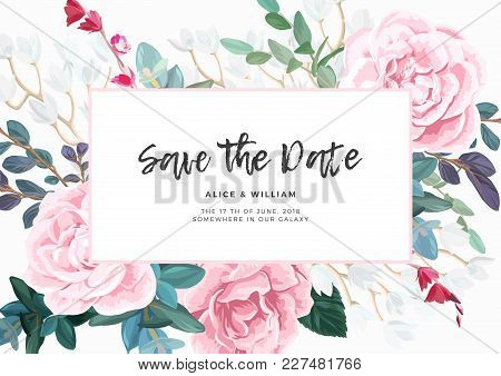 Floral Wedding Invitation With Pink Roses On White Background. Horizontal Rsvp Or Save The Date Temp
