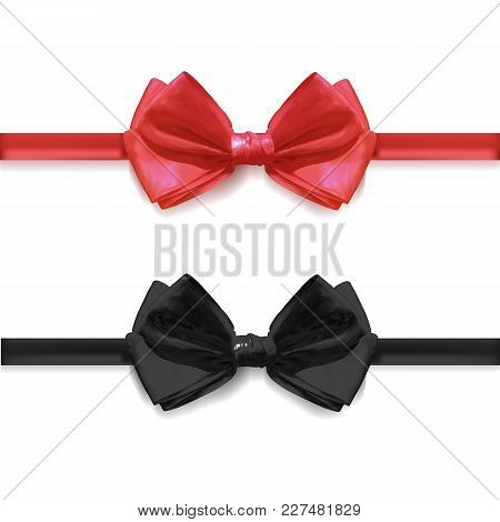 Realistic Black And Red Bow Ties, Vector Illustration Isolated On White Background.