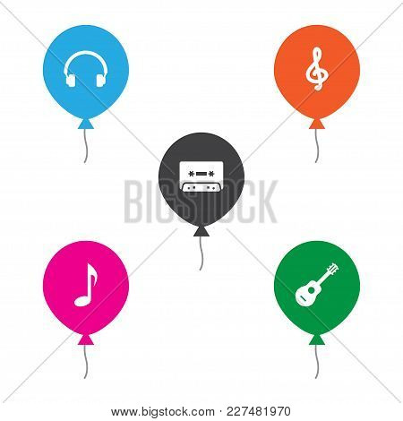 Set Of 5 Melody Icons Set. Collection Of Headphone, Guitar, Treble Clef And Other Elements.