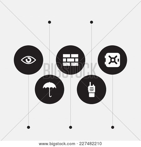 Set Of 5 Security Icons Set. Collection Of Ratio, Umbrella, Brick Wall And Other Elements.
