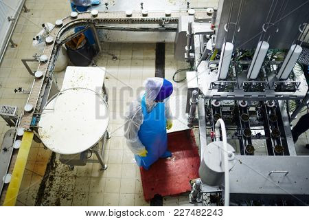 Overview of contemporary seafood factory staff in uniform working by producing line