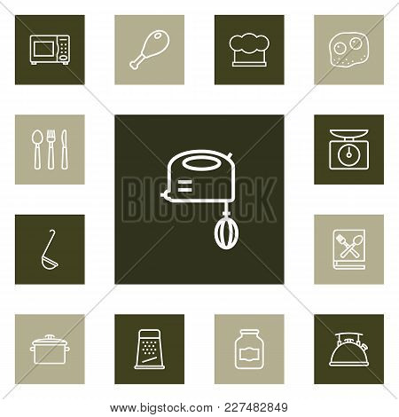Set Of 13 Cooking Icons Line Style Set. Collection Of Ladle, Grater, Mixer And Other Elements.