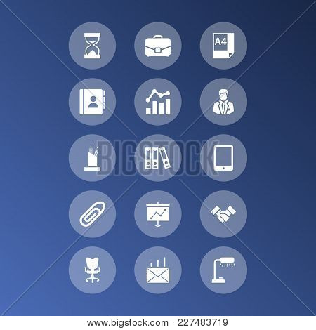 Set Of 15 Cabinet Icons Set. Collection Of Page, Paperclip, Portfolio And Other Elements.