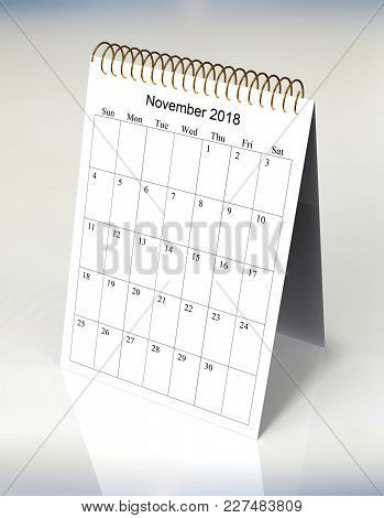 The Original Calendar For November, 2018.  The Beginning Of Week - Sunday