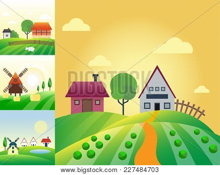 Farm Agriculture Banner Rural Landscape Products Old Barn And Field Cartoon Vector Illustration. Org