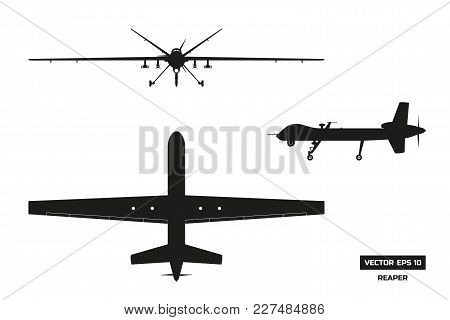 Black Silhouette Of Military Drone. Top, Front And Side View. Army Aircraft For Intelligence And Att