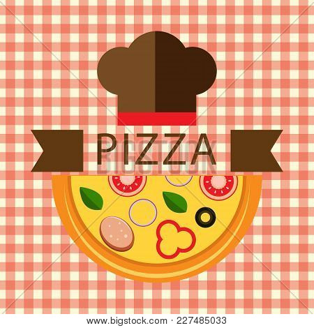 Pizza Logo With Chef Hat Vector Image
