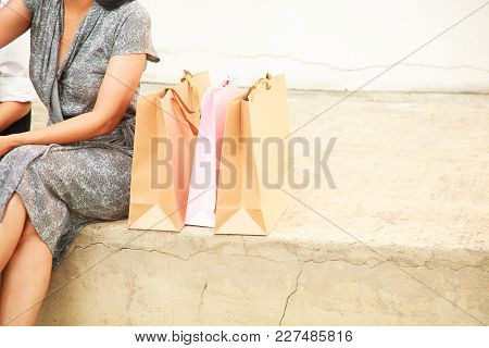 Female Lady Shopping Concept With Copy Space Background. Asian Buddy Female Shoppers Happy Shopping,