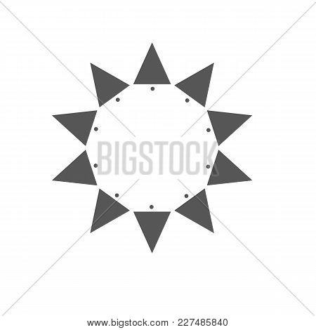 Ten Sides Pointed Star Logo Grey Sun Template