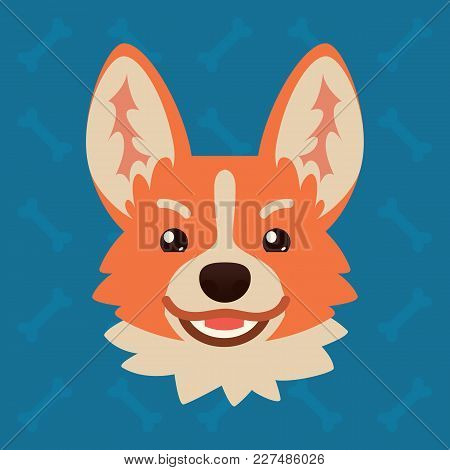 Corgi Dog Emotional Head. Vector Illustration Of Cute Dog In Flat Style Shows Tricku Emotion. Evil E
