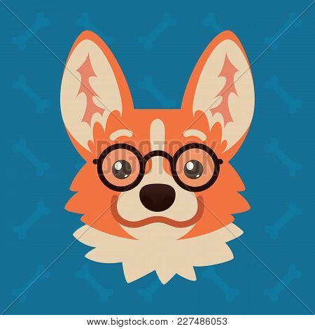 Corgi Dog Emotional Head With Glasses. Vector Illustration Of Cute Dog In Flat Style Shows Nerd Emot