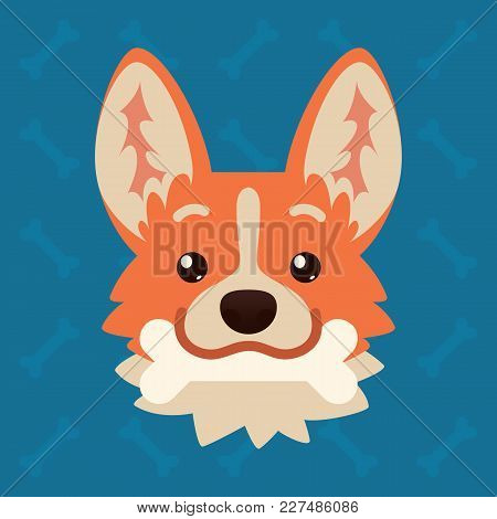 Corgi Dog Emotional Head With Bone In Mouth. Vector Illustration Of Cute Dog In Flat Style Shows Pla