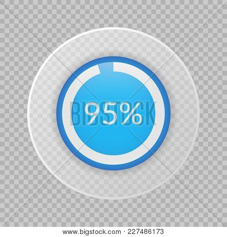 95 Percent Pie Chart On Transparent Background. Percentage Vector Infographics. Circle Diagram Isola